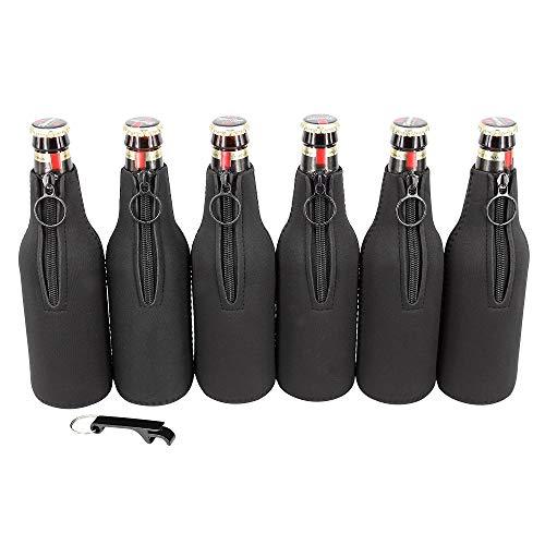 Sunkey Neoprene Beer Bottle Sleeve Cover 6 Pack Ring Zipper with Bottle Opener for 12 oz/330 ml Bottles (Black)