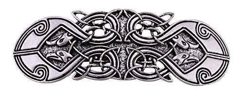 Vintage Viking Raven Crow Celtic Knot Protection Hair Clip Barrettes Gift for Women (Antique Silver)