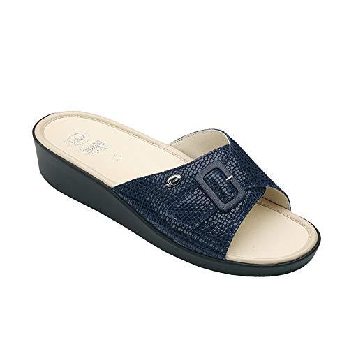 Scholl maat 41 marineblauw geheugen kussen mango dames sandalen