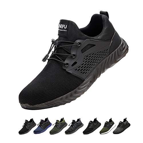 Zapatos de Seguridad para Hombres Zapatos de Acero con Punta de Seguridad,Zapatillas Deportivas Ligeras e Industriales Transpirables, 830 Black 39