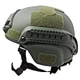 Protectecer Airsoft Helmets, Mich 2000 Estilo ACH Casco Táctico con Montura Nvg Y Campo De Ferrocarril Lateral, CS Casco De Juego, Verde