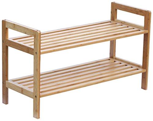 BAMFOX 2-Tier Shoe Rack,Bamboo Stackable Shoe Storage Organizer Unit Entryway Shelf,27.2