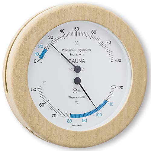 SAUNA – Thermometer Hygrometer, Holzgehäuse mit Edelstahlrückwand Ø 160mm