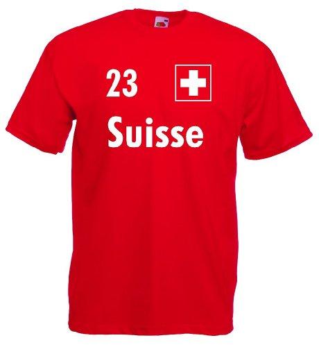 World-of-Shirt Herren T-Shirt Suisse/Schweiz Trikot Nr.23|M