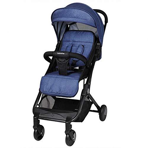 Ligera Cochecito de Bebé Plegable silla de paseo ultra compacto Sillita compacta y deportiva bebe de portatil para avión multifuncional Con tirante sistema de arnés de 5 puntos para 0-3 años,Azul