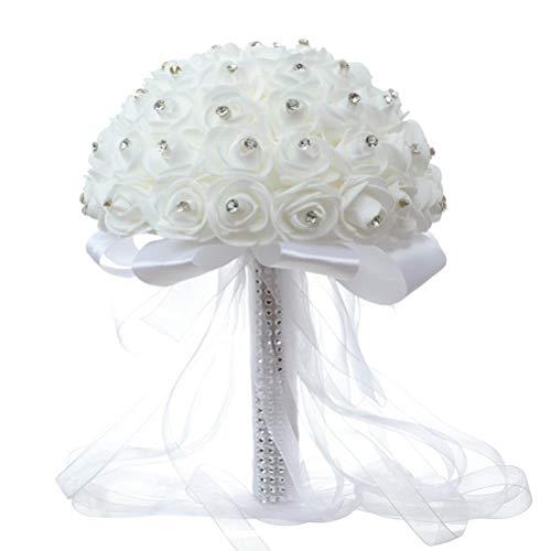 BTOSEP Bouquet da sposa da sposa,Bouquet da sposa bianco Bouquet da sposa artificiale Bouquet di rose con perle di cristallo per matrimonio Chiesa Fidanzamento Festa di San Valentino Decorazioni