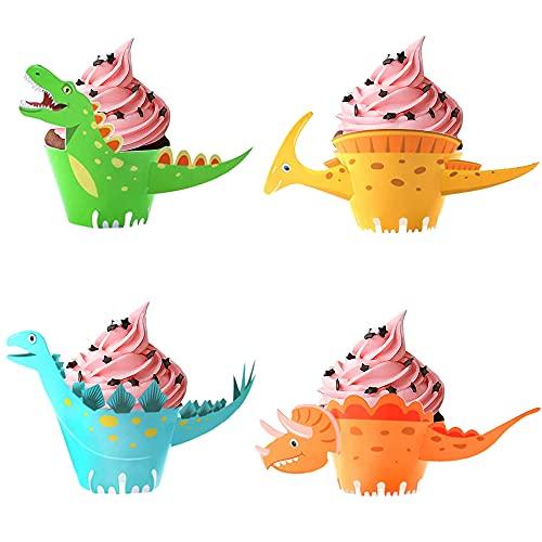 LUKIUP® 24 Stücke Dinosaurier Cupcake Wrapper, doppelseitig, Dinosaurier Kuchen Dekoration für Kinder Party Dinosaurier Geburtstag Deko Jungen Mädchen.
