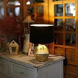 Aigostar - Lámparas de Mesita de Noche, Forma de diamante, Dorado. Lámpara de Cerámica E14(Bombilla no incluida), Pantalla de Tela, Lámpara Escritorio Diseño moderno para Estudio, Salón etc
