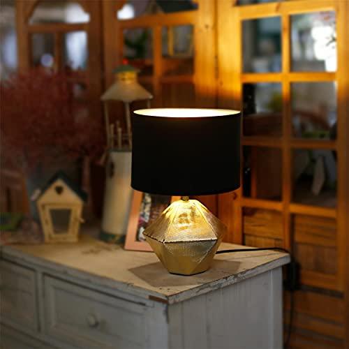 Aigostar - Lámpara de Mesa, Forma de diamante, Dorado. Lámpara de Cerámica E14, Pantalla de Tela, Lámpara Escritorio Diseño moderno para Estudio, Salón etc, H32cm