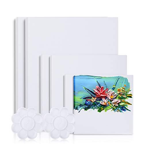 Viesap Set de 6 Paneles Blancos Imprimados con 2 Paleta de Colores Paneles de Lienzos Cuadrados, 3 Tamaños 30x25, 20x20, 15x15 Paneles de Lienzos de Arte 100% Algodón con Núcleo Reciclado Acrílico.
