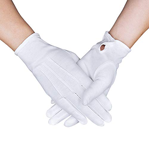 Parade Gloves White Cotton Formal Tuxedo Costume Honor Guard Gloves with Snap Cuff, Coin Jewelry Silver Inspection Gloves 1 Pair