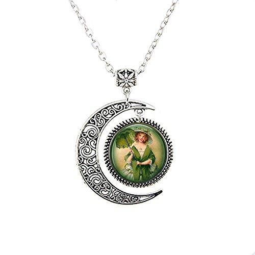 qws Irish Lass Sonnenschirm – Irish Moon Halskette – St. Patrick's Day grüner Schmuck – Vintage Irland Schmuck – Irish Lass Moon Halskette – Irland
