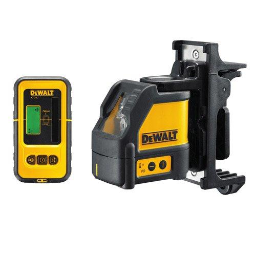 DeWalt Kreuzlinien-Laser mit Detektor (robust, feuchtigkeitsgeschützt, für den Innenausbau, zwei-Tasten-Bedienung, selbstnivellierend, inkl. Laser-Detekor, Wandhalterung, Transportkoffer und Batterien), DW088KD