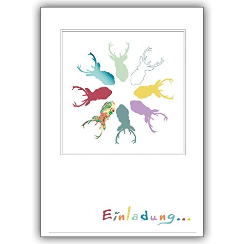 Uitnodigingskaarten met hoeveelheidskorting: Platzhirsch uitnodigingskaart voor coole feestjes • vieren met vrienden en familie de mooiste momenten van het leven 10 Grußkarten