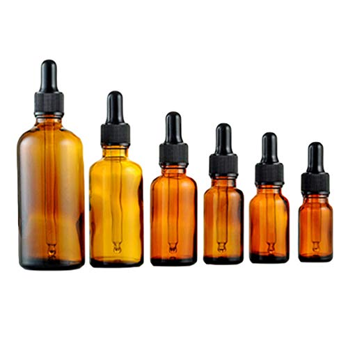 Beaupretty Essential Oils Bottles, 6pcs Amber Glass Vials Bottles with Glass Eye Dropper for Liquid Aromatherapy Fragrance