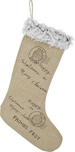 Chaussette de Noël en toile de jute avec bordure en fourrure de jute 27 x 45 cm
