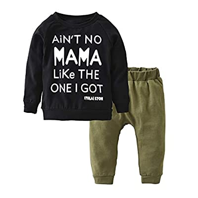 Toddler Baby Boy Letters Printed Tops Pants Leggings Outfits Clothes Set (0-6 Months) by