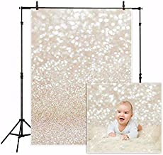 Funnytree 5X7ft Ivory Gold Bokeh Photography Backdrop Golden Spots Shinning Sparkle (Not Glitter) Sand Scale Halo Still Life Golden Background Newborn Baby Portrait Photo Studio Photobooth Props
