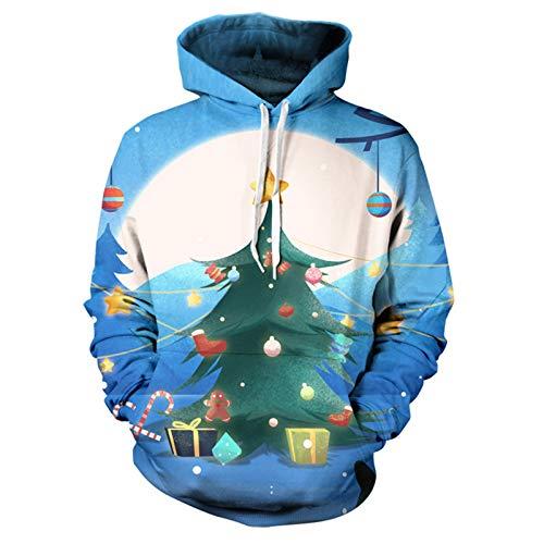 Mr.BaoLong&Miss.GO Herbst Und Winter Herren Pullover Weihnachtsdruck Kapuze Tasche Pullover Tide Kapuze Paar Weihnachtspullover