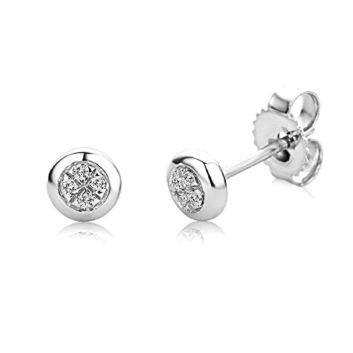Miore 9 kt (375) White Gold with Diamonds (0.03 ct) Rubover Stud Earrings for Women, 4.3mm
