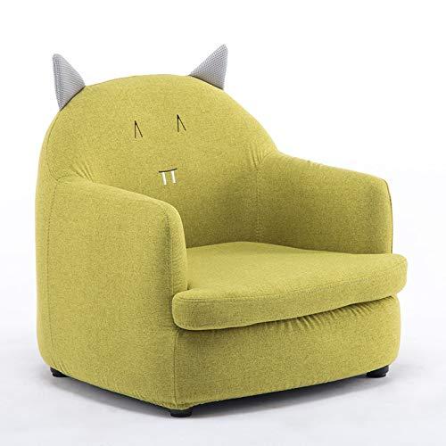 Htimer Kinderbank voor meisjes, prinses, schattige cartoon stoel voor jongens, Pigro, mini-zitje, baby/kleine kinderstoel Green Fabric Kitten (Detachable)