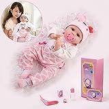 HONGRO DOLL Muñecas Reborn, Realistic bebé Reborn niña , 55cm muñecas de Vinilo Silicona ,10 Juegos de Regalo, Regalo de cumpleaños / Navidad para niños, Certificación EN71