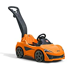 Ultimate kid's push car features the realistic design of the McLaren 570S Sports car! Interactive steering wheel allows little ones to rev their engines with the electronic sounds, just like the 570S Glide through turns with the ultra-quiet whisper w...