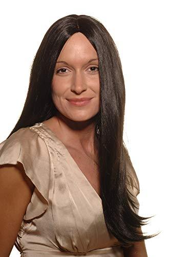 WIG ME UP - SA-151-1 Perücke schwarz langes glattes Haar mit Mittelscheitel