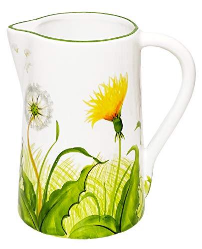 Lashuma Milchkanne im Pusteblumen Design, Keramikkrug Füllmenge: 1,5 l, Italienische Wasserkanne Höhe 19 cm