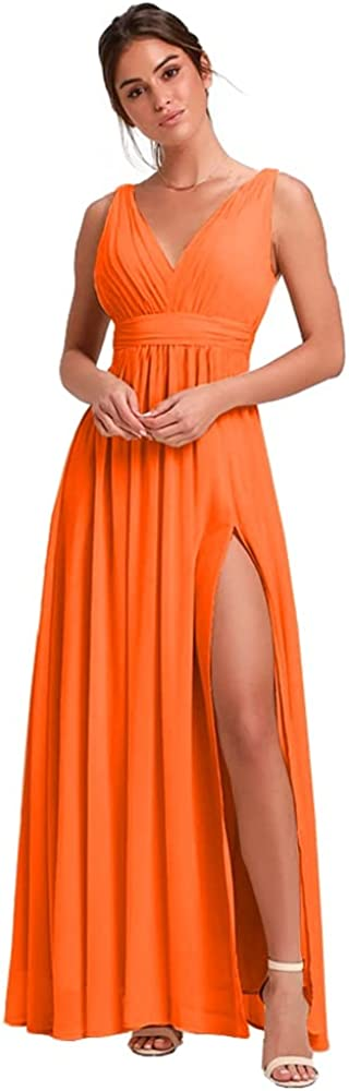 Stylefun Women's V-Neck Bridesmaid Dresses for Women Long Simple A-Line Formal Dress with Slit 2021 HD66