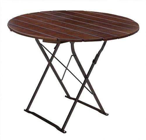 Bière Table de Jardin Ronde Ø 90 cm cm EuroLiving Edition de Classic Châtaigne/Noir