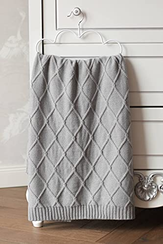 Eva&Naomi - Coperta per neonato con rombi, 100% lana merino, 75 x 100 cm, colore: grigio