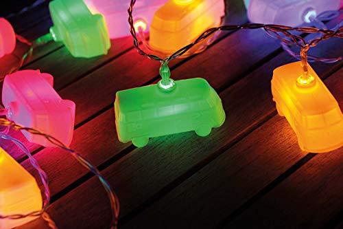BRISA VW Collection - Stylishe Ambiente Volkswagen T1 Bulli Bus 3D Batterie Lichter-Kette für Parties, Kinderzimmer, Werkstätten & Events (für Innen/3m/20 x LED/Bunt)