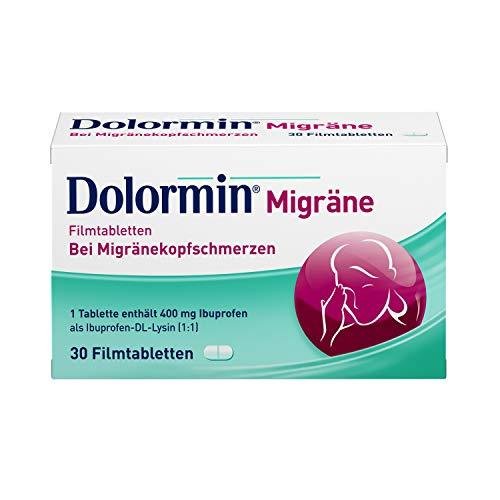 Dolormin Migräne – zur Behandlung von Kopfschmerzen bei Migräneanfällen mit und ohne Aura – 30 Tabletten