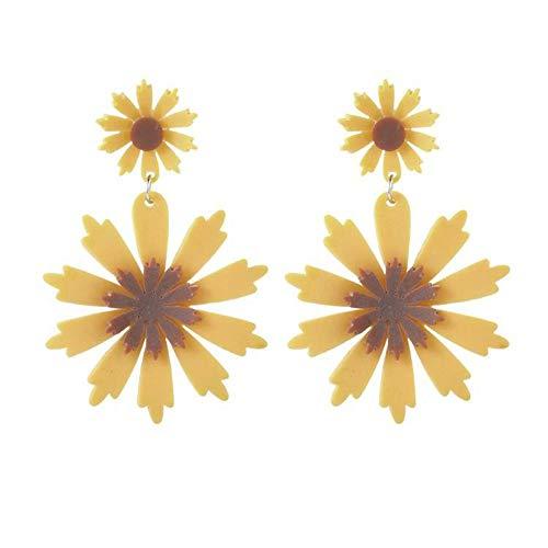 NFRADFM Pendientes de Mujer Amarillo Geométrico Forma de Girasol Pendientes Colgantes Mujer Las Mejores Fiestas de Vacaciones Joyas Regalos