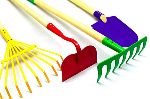 G & F JustForKids Kids Garden Tool Set Toy, Rake, Spade, Hoe and Leaf Rake, reduced size , made of sturdy steel heads and real wood handle, 4-Piece, Multicolored, 5yr+