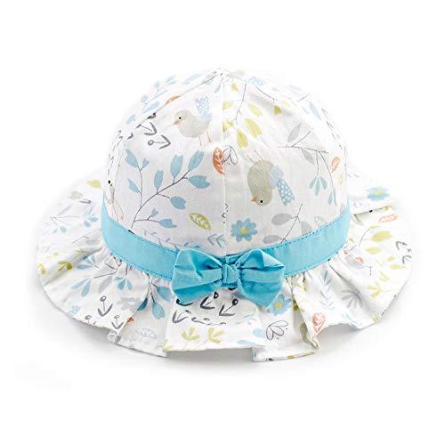 iisport Sonnenhut Baby Mädchen, Kleinkind Fisherhut Mädchen Sommermütze mit Kinnriemen, UV-Schutz, Vögel-Blau, 48cm / M