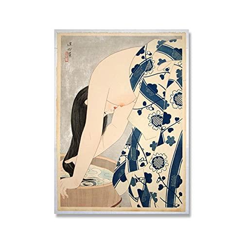 ThinkingPower Cuadros Decorativos Impresiones de Arte Oriental Vintage, Cuadros de Pintura, Arte de Pared, Geisha Japonesa, Tsuchiya Koitsu, Carteles de Lienzo nórdico, decoración del hogar 60x90cm