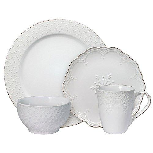 Pfaltzgraff French Lace Dinnerware Set, 16 Piece, White