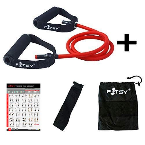 FITSY® Resistance Toning Tube + Door Anchor + Carry Pouch + Workout Chart - RED