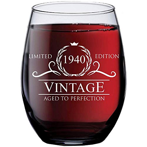 1940 80th Birthday Gifts for Women Men - 15 oz Stemless Wine Glass - 80 Year Old Gift Present Ideas for Mom Dad - Funny Vintage Unique Personalized - Party Anniversary Reunion Decorations Supplies