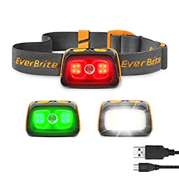 EverBrite Rechargeable Headlamp - 350 Lumens Headlight with Red/Green Light and Tail Light 7 Lighting Modes with Memory Function IPX4 Water Resistant Perfect for Trail Running Camping and Hiking