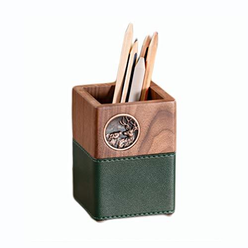 DWQ Portalápices de Madera de Nogal Portalápices de Moda Retro, Caja de Almacenamiento de papelería de Escritorio Soporte de Cepillo cosmético Tallado a Mano