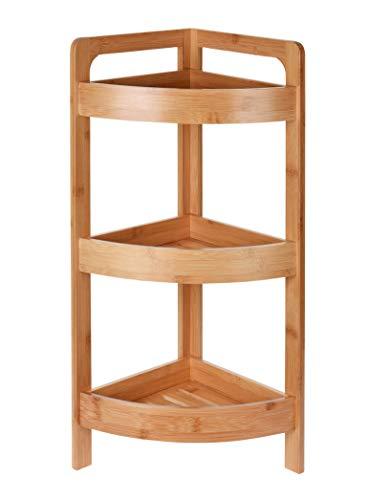 Spetebo Bambus Badezimmer Eckregal mit 3 Ablagen - Holz Badregal Standregal Eckregal Holzregal Regal