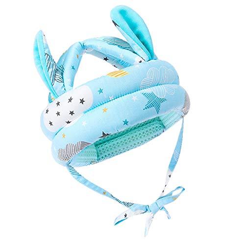 Djvn - Gorra de 1 pieza de algodón Toddler Infant Baby No Bump casco de seguridad, gorro, diseño de animal, gorro, gorro de 53 x 40 cm, 6 meses 5 años, color azul, rosa, morado y gris + azul opcional