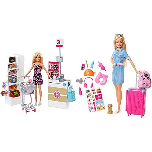 Barbie Muñeca Vamos Al Supermercado, Accesorios Muñeca, Regalo para Niñas Y Niños, Color/Modelo Surtido + Vamos De Viaje, Muñeca con Accesorios, Edad Recomendada: 3 Años Y Mas