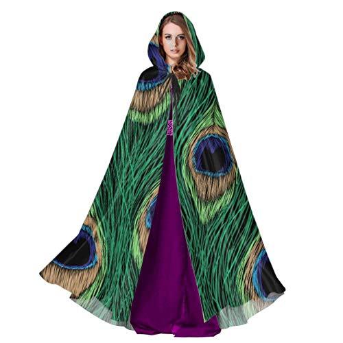 WYYWCY Colorido pájaro Plumas de Pavo Real para Mujer Capa con Capucha niñas Capa con Capucha 59 Pulgadas para Navidad Disfraces de Halloween Cosplay