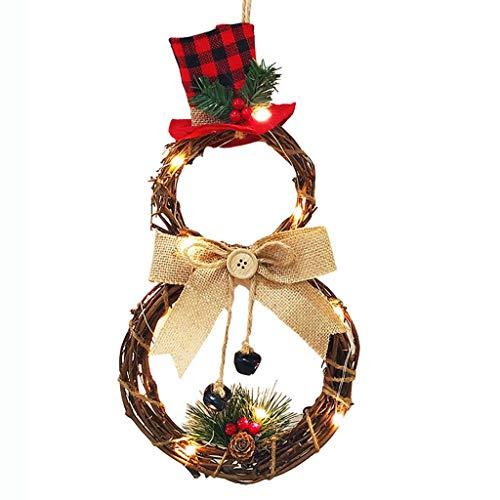 suoryisrty Ornamenti Natalizi 1 Set Ghirlanda Natalizia Ghirlanda Porta Finestra Appeso a Parete Ornamento Decorazione Rattan e luci Chiare a Forma di Pupazzo di Neve