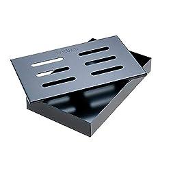 SANTOS beschichtete Räucherbox Black Zzubehör für Grills | Maße 21 x 13,0 x 3,4 cm