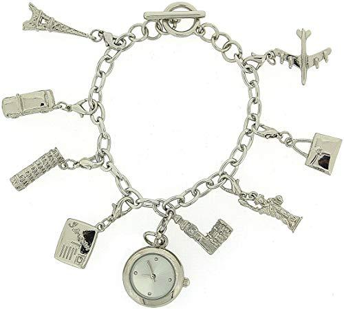 CHARMED Damen-Geschenkset bestehend aus analoger Damenuhr an Bettelarmband mit 8 Bettelanhängern und T-Verschluss